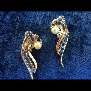 Vintage Clip Back BLUE Rhinestone Pearl Earrings